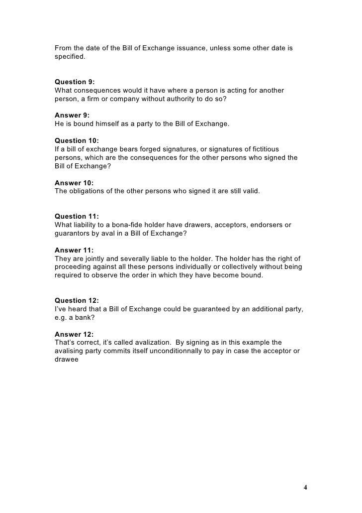 Faq for a bill of exchange bill of exchange answer 8 3 4 altavistaventures Gallery