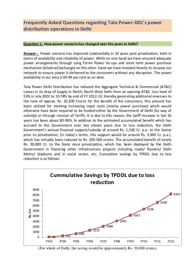 FAQ's Sl. No. 1 : Tata Power-DDL's power distribution ...
