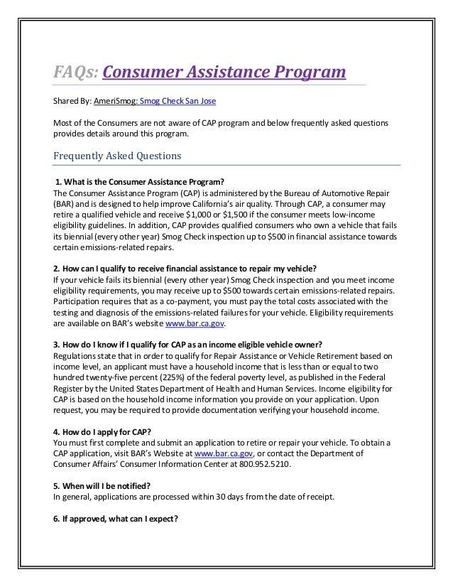 Faqs Consumer Assistance Program California California Smog Check