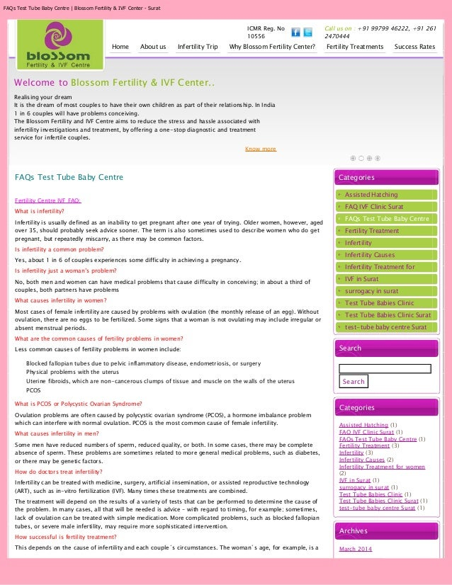 FAQs Test Tube Baby Centre | Blossom Fertility & IVF Center - Surat ICMR Reg. No 10556 Call us on : +91 99799 46222, +91 2...