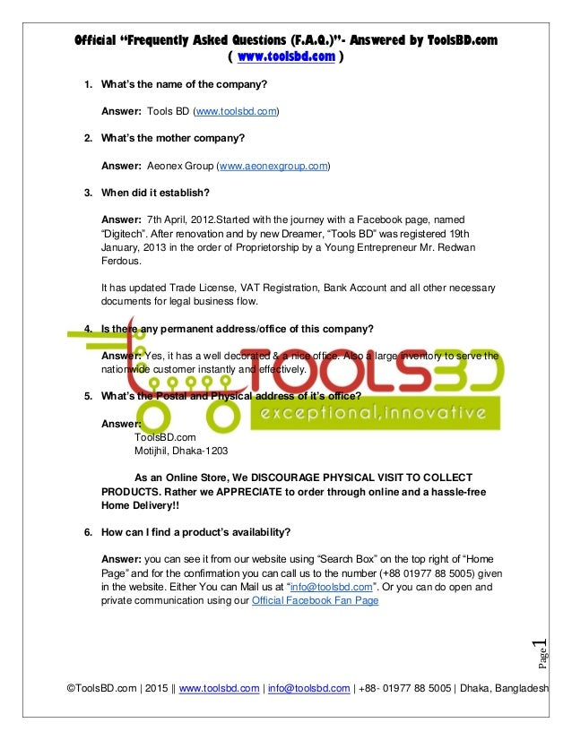 """Official """"Frequently Asked Questions (F.A.Q.)""""- Answered by ToolsBD.com ( www.toolsbd.com ) ©ToolsBD.com 