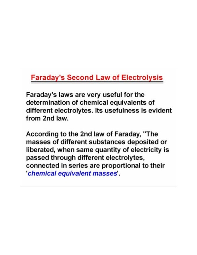 Faraday laws of electrolysis