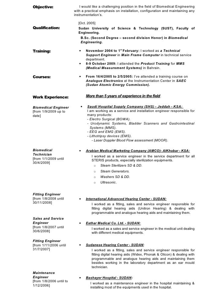 Sample resume of biomedical engineer – Biomedical Engineer Resume