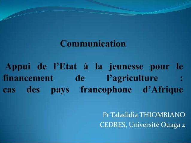Pr Taladidia THIOMBIANO CEDRES, Université Ouaga 2