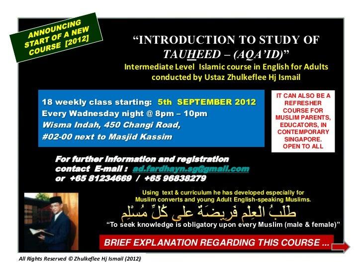 """INTRODUCTION TO STUDY OF                                                 TAUHEED – (AQA'ID)""                             ..."