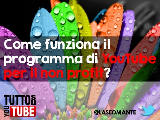 Come funziona il programma di YouTube per il non profit? @LASEOMANTE