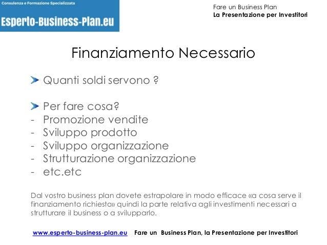 Fare un Business Plan, la presentazione per INVESTITORI