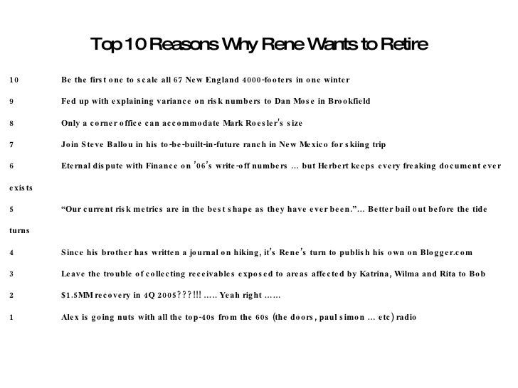 Top 10 Reasons Why Rene Wants to Retire 10 Be the first one to scale all 67 New England 4000-footers in one winter 9 Fed u...