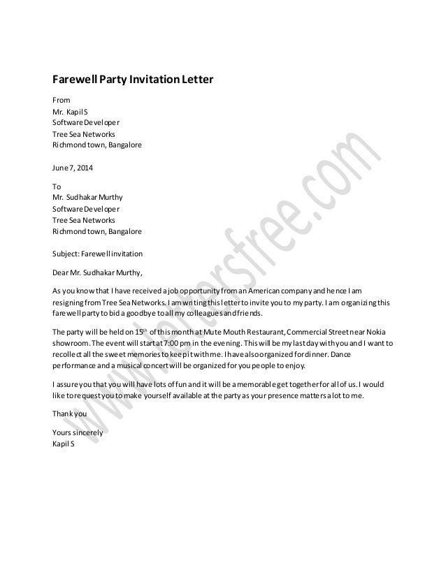 farewell party invitation letter sample farewellparty invitation letter from mr kapil s software developer tree sea networks richmondtownbangalore - Goodbye Party Invitation