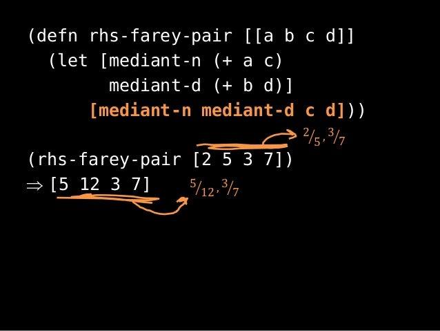 (defn rhs-farey-pair [[a b c d]](let [mediant-n (+ a c)mediant-d (+ b d)][mediant-n mediant-d c d]))(rhs-farey-pair [2 5 3...