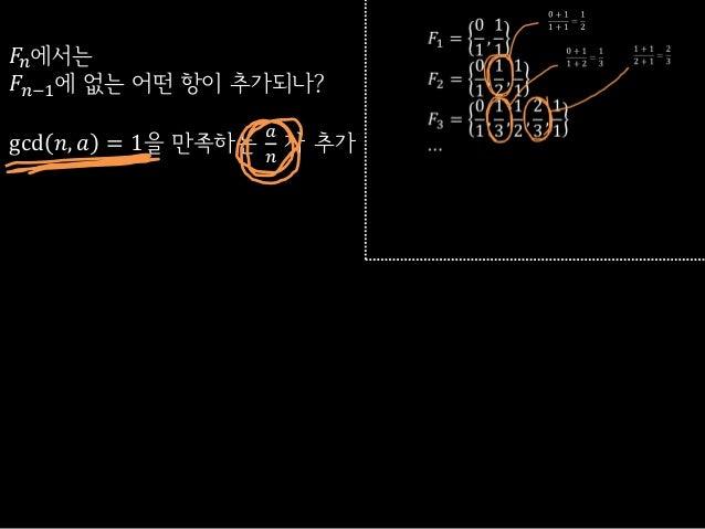 𝐹𝑛에서는𝐹𝑛−1에 없는 어떤 항이 추가되나?gcd 𝑛, 𝑎 = 1을 만족하는𝑎𝑛가 추가
