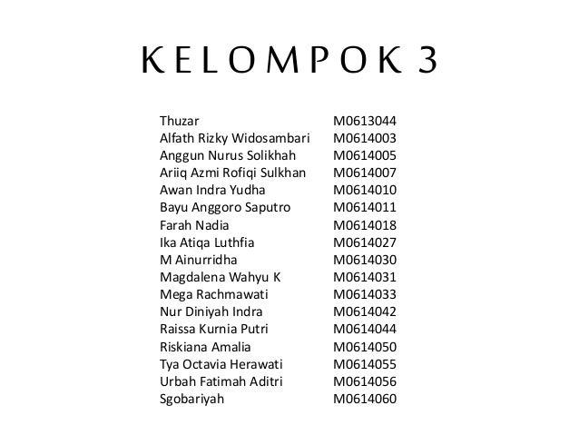 K E L O M P O K 3 Thuzar M0613044 Alfath Rizky Widosambari M0614003 Anggun Nurus Solikhah M0614005 Ariiq Azmi Rofiqi Sulkh...