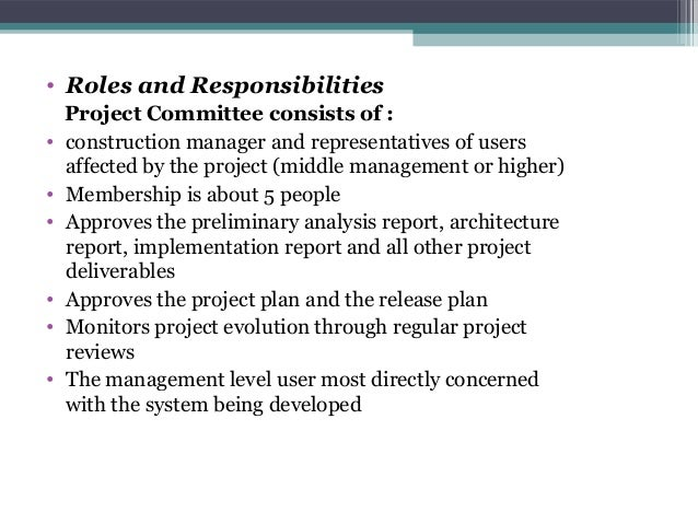 20 roles and responsibilities project committee consists of construction manager