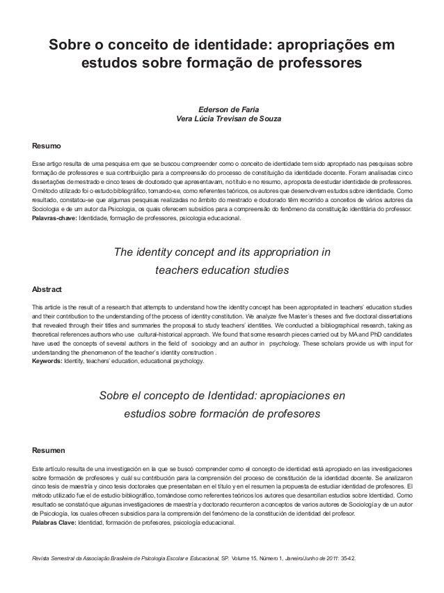 35Revista Semestral da Associação Brasileira de Psicologia Escolar e Educacional, SP. Volume 15, Número 1, Janeiro/Junho d...