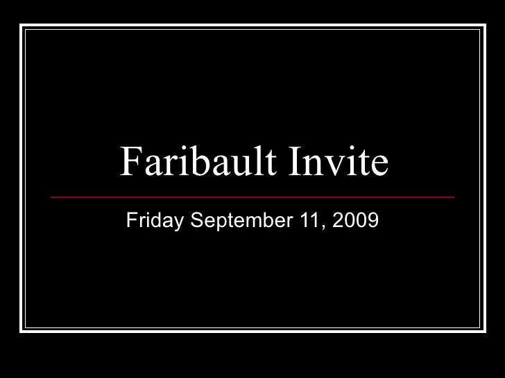 Faribault Invite Friday September 11, 2009