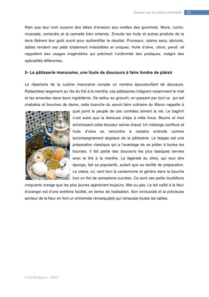 Farid bedjaoui et la cuisine orientale for Repertoire de la cuisine