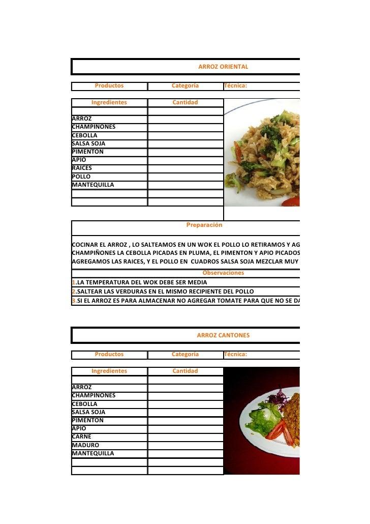 ARROZ ORIENTAL        Productos              Categoría         Técnica:       Ingredientes            Cantidad  ARROZ CHAM...
