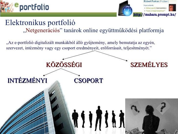 """"""" Az e-portfolió digitalizált munkákból álló gyűjtemény, amely bemutatja az egyén, szervezet, intézmény vagy egy csoport e..."""