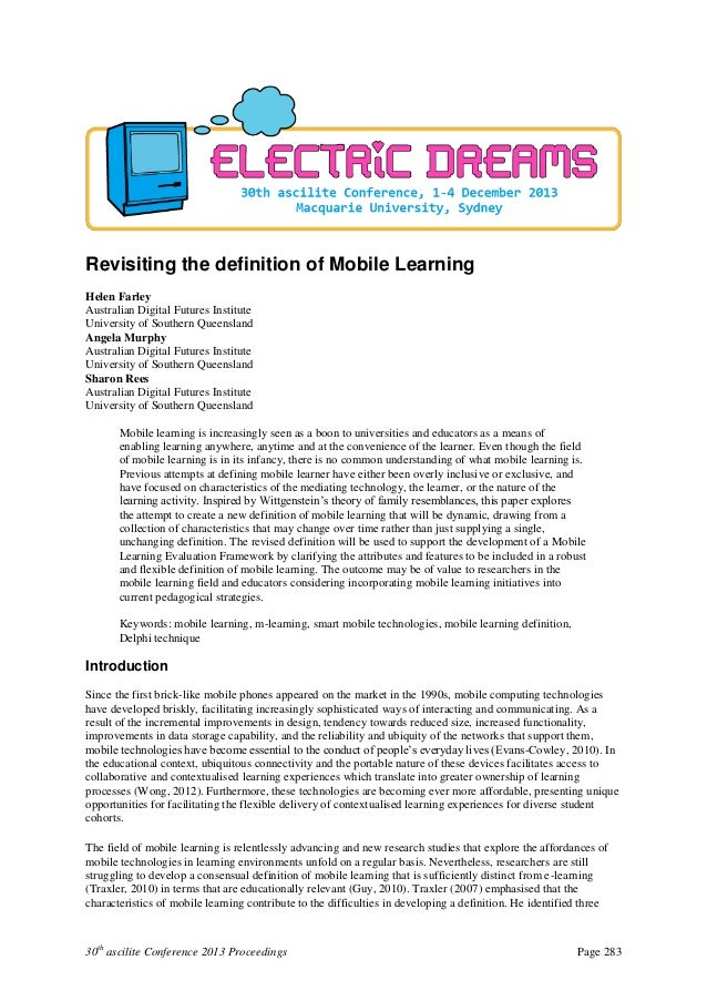 30th ascilite Conference 2013 Proceedings Page 283 Revisiting the definition of Mobile Learning Helen Farley Australian Di...