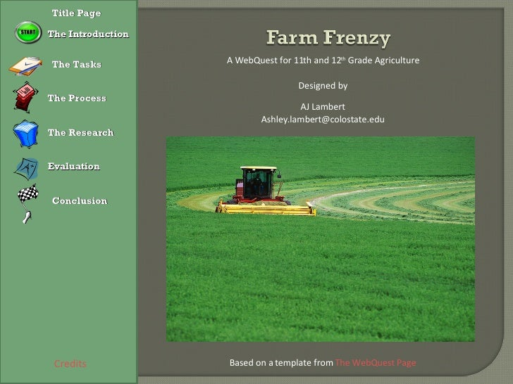 Credits A WebQuest for 11th and 12 th  Grade Agriculture Designed by AJ Lambert [email_address] Based on a template from  ...