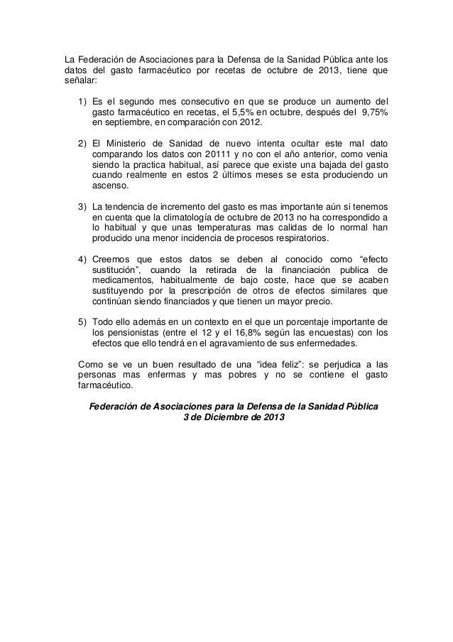 La Federación de Asociaciones para la Defensa de la Sanidad Pública ante los datos del gasto farmacéutico por recetas de o...