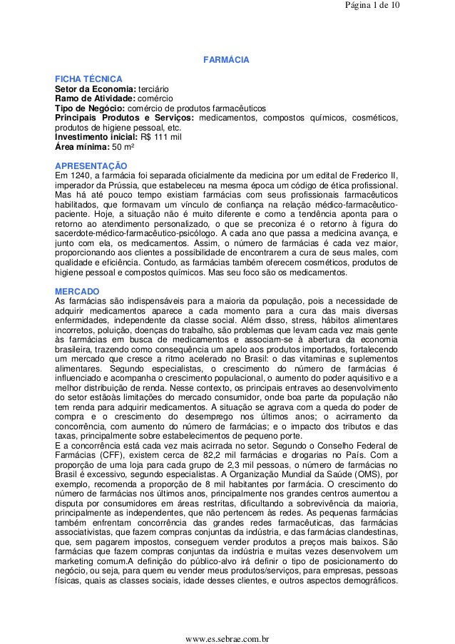 Página 1 de 10                                      FARMÁCIAFICHA TÉCNICASetor da Economia: terciárioRamo de Atividade: co...