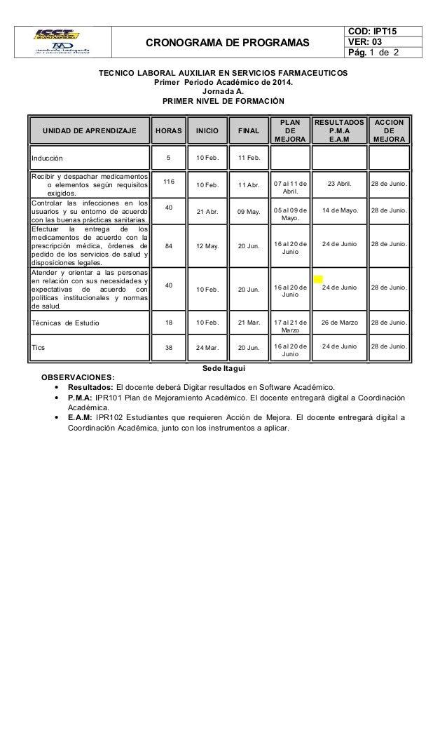 CRONOGRAMA DE PROGRAMAS COD: IPT15 VER: 03 Pág. 1 de 2 TECNICO LABORAL AUXILIAR EN SERVICIOS FARMACEUTICOS Primer Periodo ...
