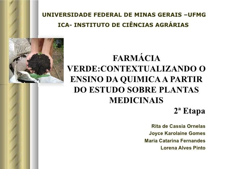 UNIVERSIDADE FEDERAL DE MINAS GERAIS –UFMG    ICA- INSTITUTO DE CIÊNCIAS AGRÁRIAS               FARMÁCIA      VERDE:CONTEX...