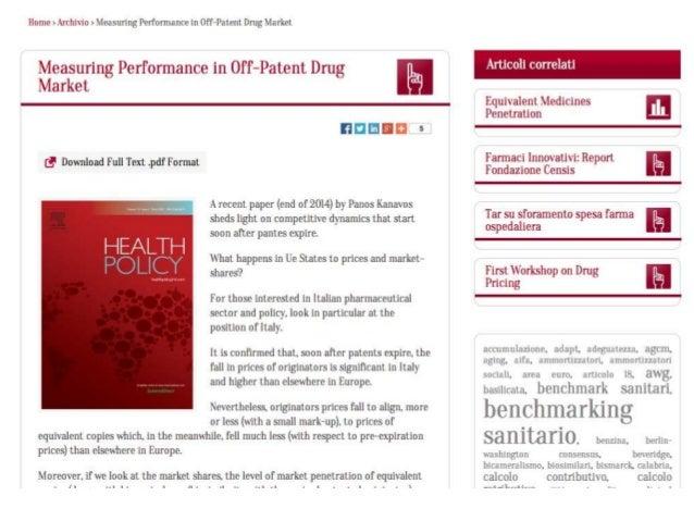 Diffusione delle copie economiche Oecd (Health at a Glance, 2013)