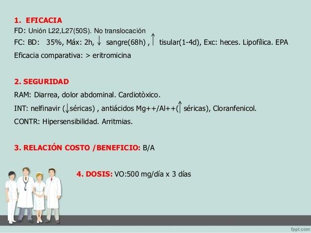 1. EFICACIA  FD: Aminoglucósido bactericida. Se une irreversiblemente a la subunidad 30S de los  ribosomas bacterianos e i...