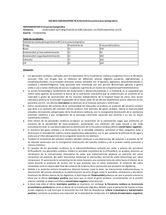 DECIMO-SEGUNDAPRÁCTICA:Antiarrítmicoseintoxicacióndigitálica EXPERIMENTONº2:Intoxicacióndigitálica. Fármacos: DeslanosidoC...