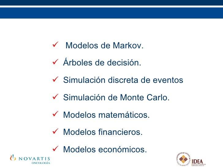 Modelos en evaluación económica <ul><li>Modelos de Markov. </li></ul><ul><li>Árboles de decisión. </li></ul><ul><li>Simula...