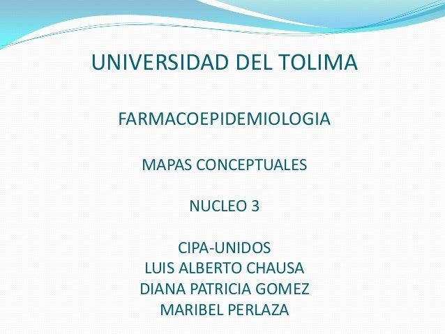 UNIVERSIDAD DEL TOLIMAFARMACOEPIDEMIOLOGIAMAPAS CONCEPTUALESNUCLEO 3CIPA-UNIDOSLUIS ALBERTO CHAUSADIANA PATRICIA GOMEZMARI...