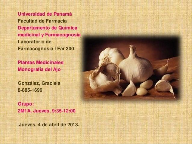 Universidad de Panamá Facultad de Farmacia Departamento de Química medicinal y Farmacognosia Laboratorio de Farmacognosia ...
