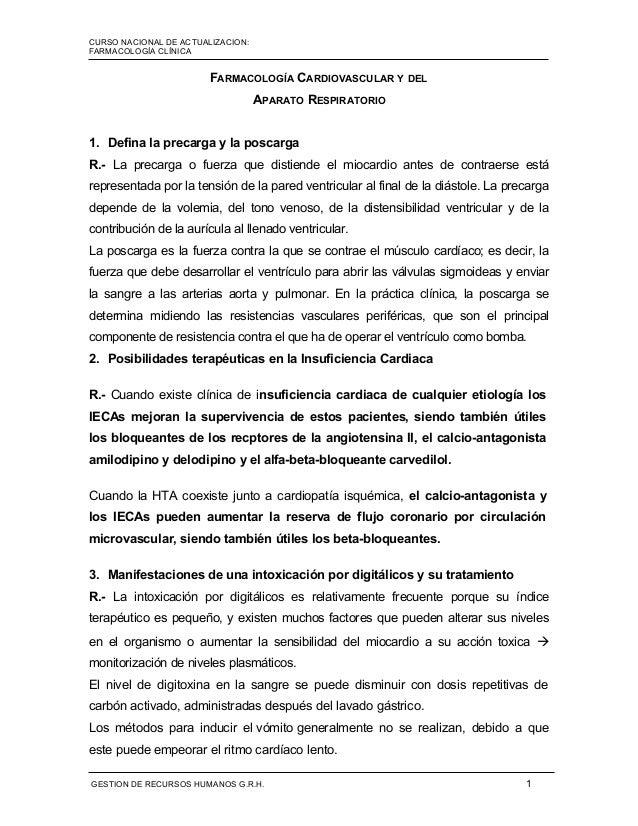 CURSO NACIONAL DE ACTUALIZACION: MÓDULO I FARMACOLOGÍA CLÍNICA FARMACOLOGÍA CARDIOVASCULAR Y DEL APARATO RESPIRATORIO 1. D...
