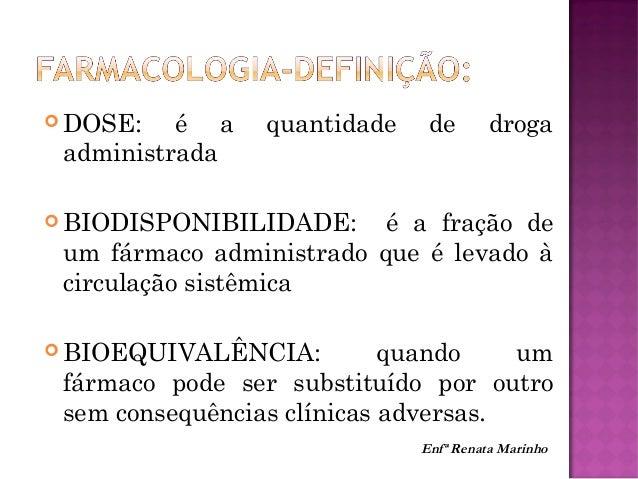  TEMPO 1/2 VIDA: é o tempo necessário para que a concentração plasmática do fármaco chegue em 50 %. É utilizado para o cá...