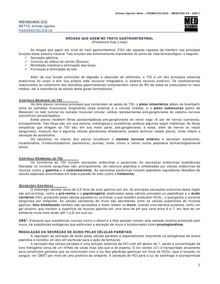 Arlindo Ugulino Netto – FARMACOLOGIA – MEDICINA P4 – 2009.1MED RESUMOS 2012NETTO, Arlindo Ugulino.FARMACOLOGIA            ...