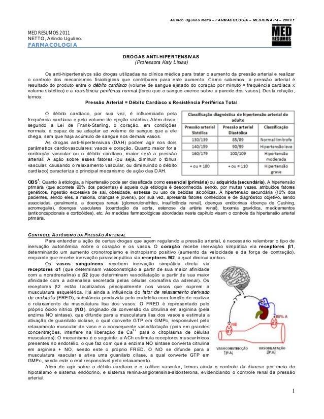 Arlindo Ugulino Netto – FARMACOLOGIA – MEDICINA P4 – 2009.1 1 MED RESUMOS 2011 NETTO, Arlindo Ugulino. FARMACOLOGIA DROGAS...