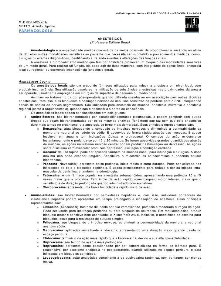 Arlindo Ugulino Netto – FARMACOLOGIA – MEDICINA P3 – 2008.2MED RESUMOS 2012NETTO, Arlindo Ugulino.FARMACOLOGIA            ...