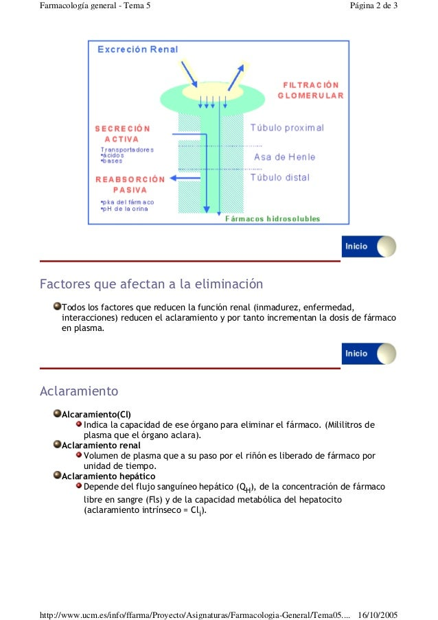 Factores que afectan a la eliminaciónTodos los factores que reducen la función renal (inmadurez, enfermedad,interacciones...