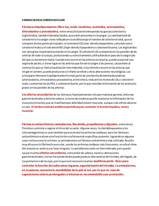 FARMACOLOGIACARDIOVASCULAR Fármacos hipolipemiantes (fibra tos, ácido nicotínico, ecetimiba, atorvastatina, simvastatina y...