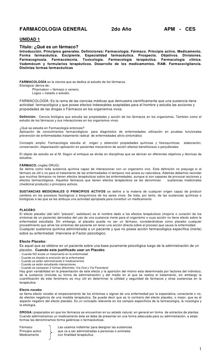 FARMACOLOGIA GENERAL                                                  2do Año                      APM - CESUNIDAD 1Título...