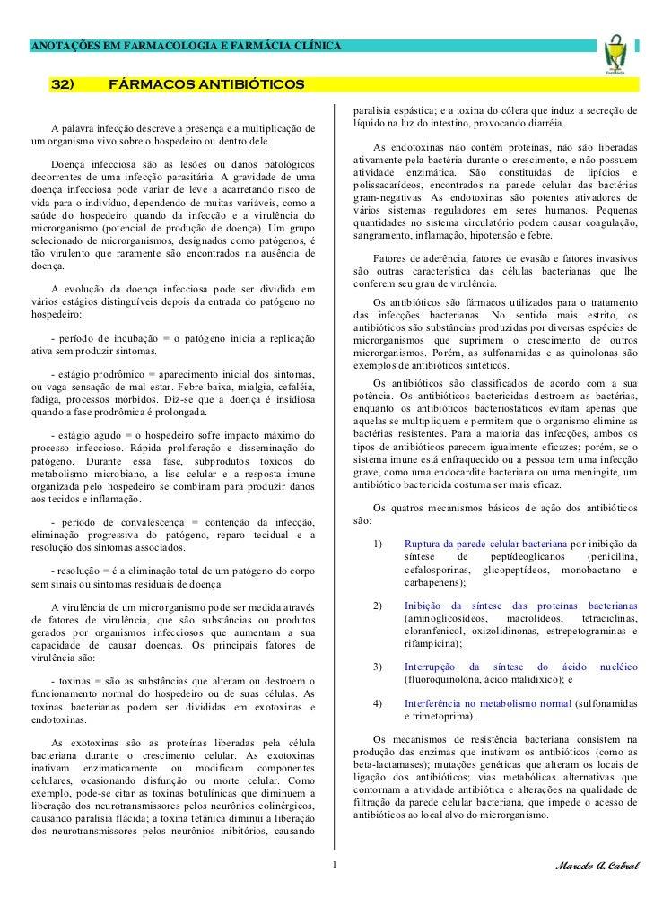 ANOTAÇÕES EM FARMACOLOGIA E FARMÁCIA CLÍNICA    32)          FÁRMACOS ANTIBIÓTICOS                                        ...