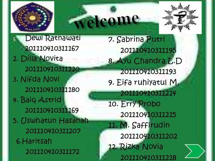 1.  Dewi Ratnawati    7. Sabrina Putri    201110410311167       2011104103111952. Dilla Novita       8. Ayu Chandra L.D   ...