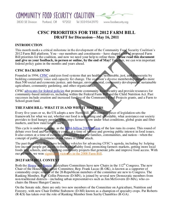 CFSC PRIORITIES FOR THE 2012 FARM BILL                            DRAFT for Discussion—May 16, 2011INTRODUCTIONThis month ...