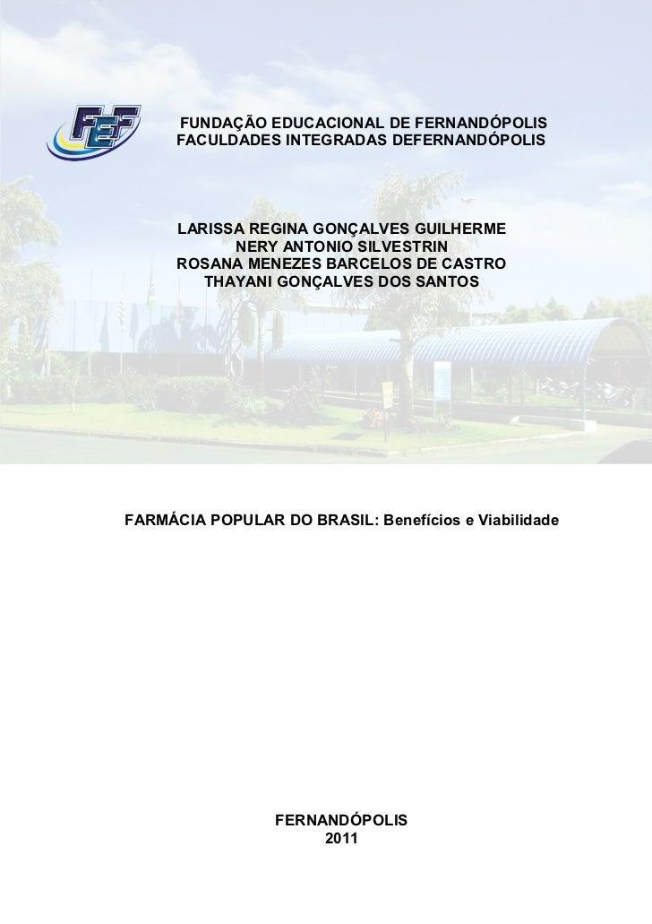 FUNDAÇÃO EDUCACIONAL DE FERNANDÓPOLIS      FACULDADES INTEGRADAS DEFERNANDÓPOLIS      LARISSA REGINA GONÇALVES GUILHERME  ...