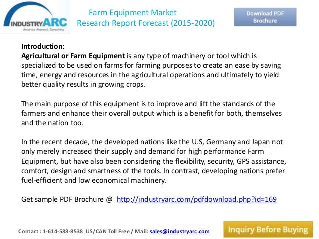 Farm equipment market research report forecast (2015 2020)
