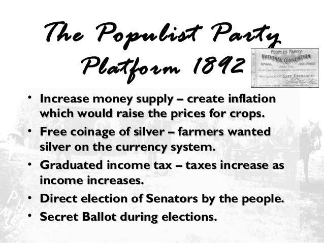 the populist party The people's (populist) party adopted this platform at its first national convention  in omaha, nebraska populist leader ignatius donnelly composed the.