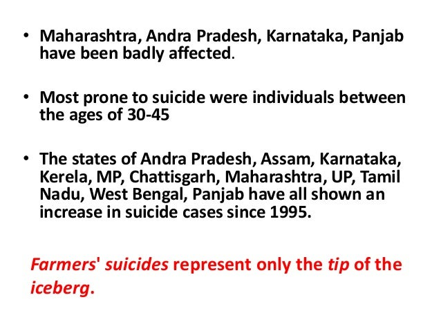 farmer suicide and agrarian distress Political silence on farmer  agrarian distress does not figure in the  on compensation to the next of kin of punjab farmers who had committed suicide,.