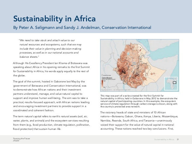 """21Sustainability in Africa Farming the Future J10220 """"We need to take stock and attach value to our natural resources and ..."""